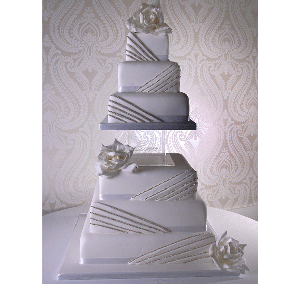 Diamante Fold Wedding Cake