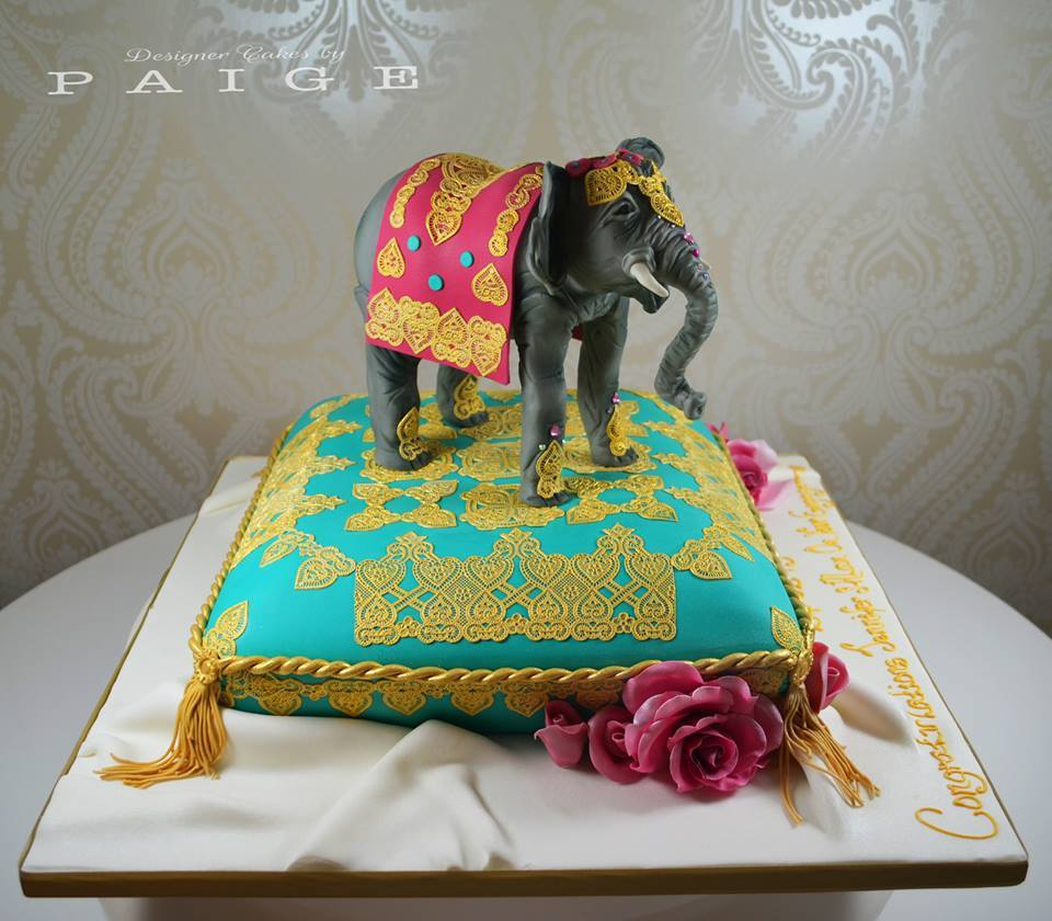 Eastern Elephant On Pillow Designer Cakes By Paige