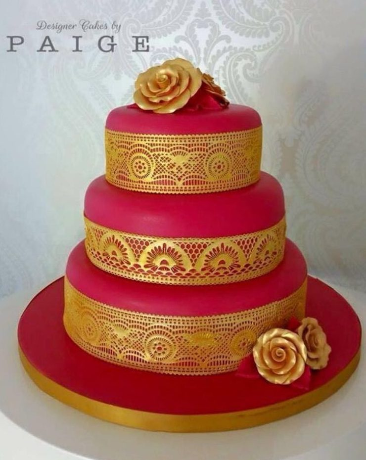 Red With Gold Lace Designer Cakes By Paige