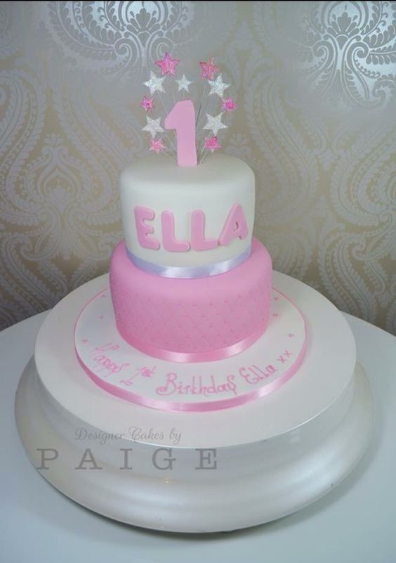 Pink White Quilted With Number 1 Designer Cakes By Paige