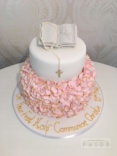 Pink Ruffle Communion 2 Tier Designer Cakes By Paige