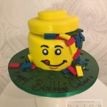 Lego Brick Head Birthday Cake