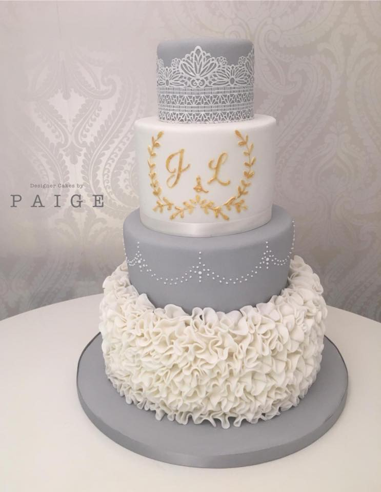 Grey And White Ruffle Designer Cakes By Paige