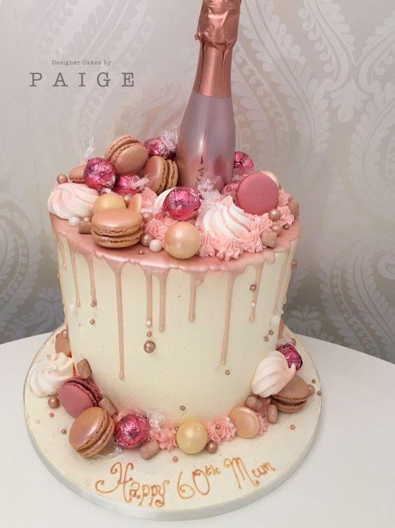 Rose Gold Prosecco Drip Designer Cakes By Paige